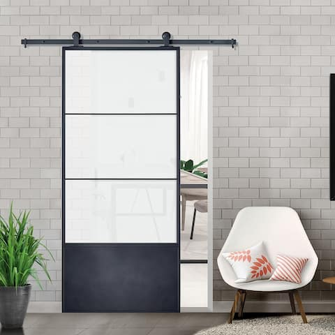 Concorde Black Frame Kit Frosted Glass 37 inch Barn Door