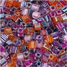 Miyuki 4mm Glass Cube Beads Color Mix Melonberry Purples Pink 10 Grams