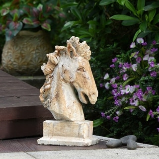 Ollerton Horse Bust Concrete Sculpture with Base Table Top Accessory
