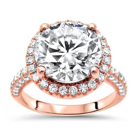 14k Rose Gold 3.85ct Round Cut Moissanite & 3/5ct Diamond Engagement Ring