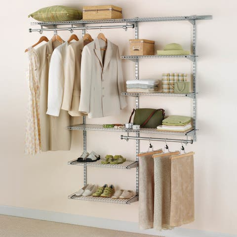 Rubbermaid FG3H8800 Adjustable Wall Mounted Closet System with 6 Shelves -