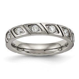 Titanium Polished Grooved CZ Ring (4 mm)