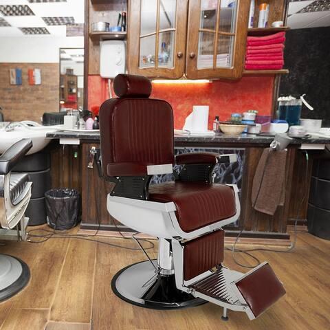 Recline Hydraulic Barber Chair Heavy Duty Salon Spa Beauty Equipment Burgundy