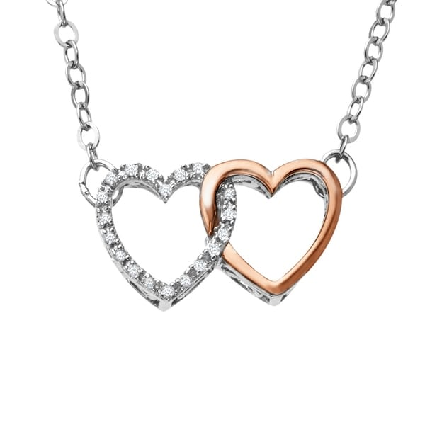 Linking Heart Necklace with Diamonds in Sterling Silver & 10K Rose Gold