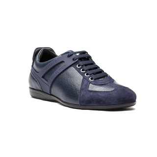 New Auth Versace Collection Men's Leather Suede Low Top Sneakers Shoes Navy Blue