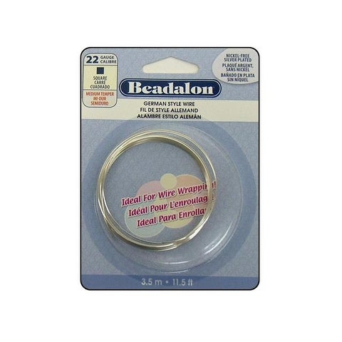 Beadalon German Style Wire Sq 22ga Slv Plt 3.5M