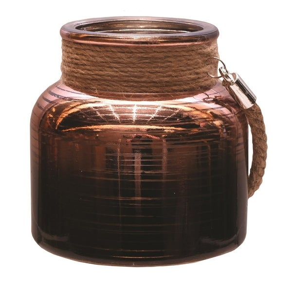 "4.75"" Copper Brown Circle Design Decorative Pillar Candle Holder Lantern with Handle"