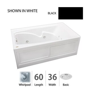"""Jacuzzi CTS6036 WLR 2CH 60"""" x 36"""" Cetra? Three Wall Alcove Comfort Whirlpool Bathtub with 8 Jets, Basic Controls, Chromatherapy,"""