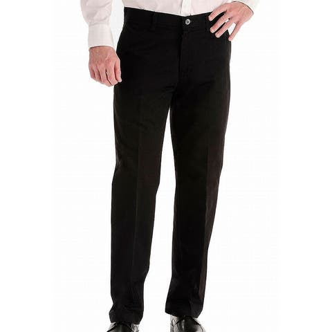 Lee Mens Pants Solid Black Size 38x30 Relaxed Fit Freedom Comfort Chino