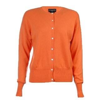 Sutton Studio Womens 100% Cashmere Crewneck Cardigan Sweater Petite