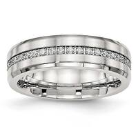 Stainless Steel Brushed and Polished CZ Ring (6.5 mm)