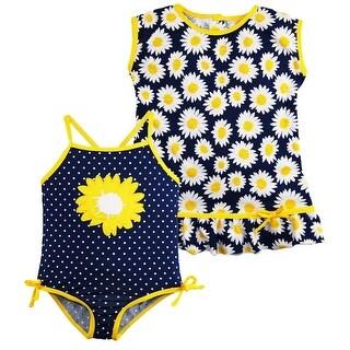 Wippette Little Girls Sunflower and Polka Dot 1Pc Swimsuit Dress CoverUp Set