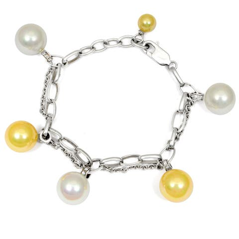 Pearl Sterling Silver Ball Chain Bracelet by Orchid Jewelry