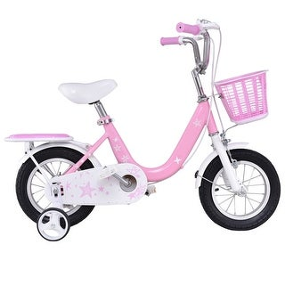 Costway 12'' Kids Bike Bicycle Children Boys & Girls with Training Wheels and Basket Pink - pink + white