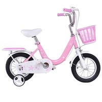 Costway 16'' Kids Bike Bicycle Children Boys & Girls with Training Wheels and Basket Pink - pink + white