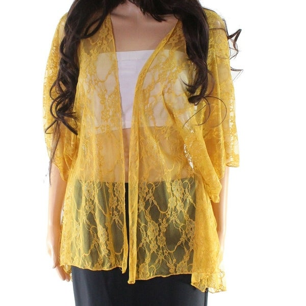 Polly & Esther Yellow Womens Size XL Floral Lace Open Front Jacket