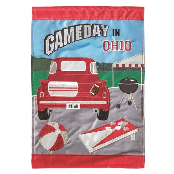 """Red Game Day in Ohio Garden Flag 13"""" x 18"""" - N/A"""