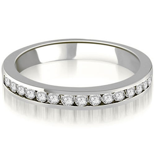 14K White Gold 0.50 cttw. Round Diamond Classic Channel Wedding Band HI,SI1-2