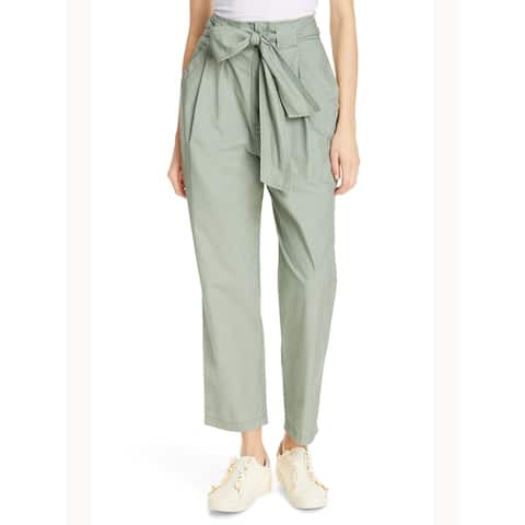 REBECCA TAYLOR Womens Green Solid Cargo Wear To Work Pants Size 28