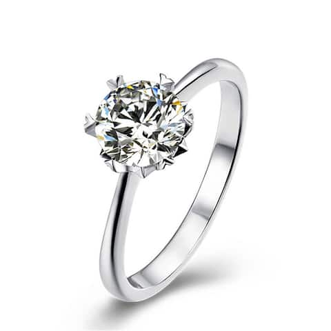 Platinum Plated Silver 1 CT Round Moissanite Ring Heart Shaped Prongs
