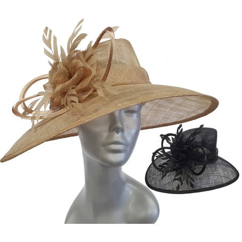 Asymmetrical designer couture Derby or Easter straw sinamay hat
