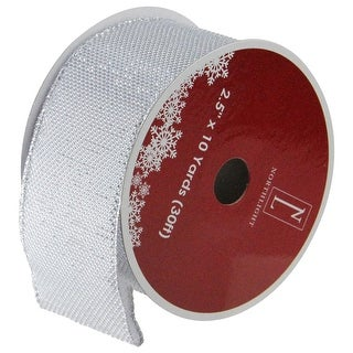 "Simply Gray Burlap Wired Christmas Craft Ribbon 2.5"" x 10 Yards"