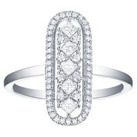 Prism Jewel 0.42Ct Round & Princess G-H/SI1 & I1 Natural Diamond Oval Shape Ring