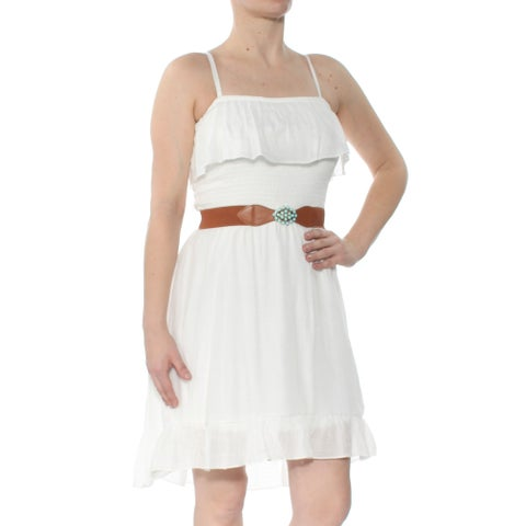 BCX Womens Ivory Belted Smocked R Spaghetti Strap Square Neck Above The Knee Fit + Flare Dress Size: S