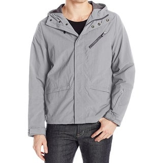 Kenneth Cole NEW Gray Hooded Mens Size Large L Full-Zip Rain Jacket