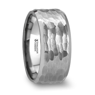 THORSTEN - MARTEL White Tungsten Ring with Hammered Finish and Polished Bevels - 10mm