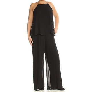 Womens Black Square Neck Sleeveless Casual Jumpsuit Size 14