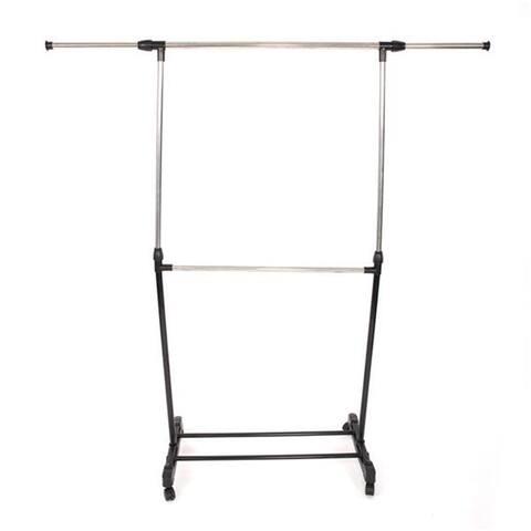 Single-bar Horizontal-stretching Stand Clothes Rack Black - 8' x 11'