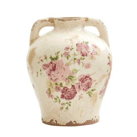 """8"""" Tuscan Ceramic Floral Print Vase"""