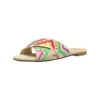 Stuart Weitzman Woman Button Candy Embellished Suede Slides Size 9.5 VtibH