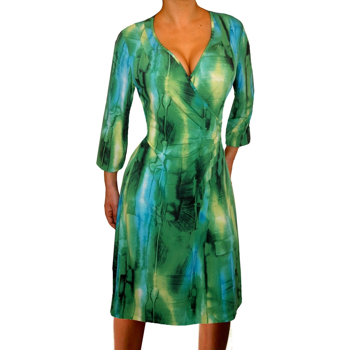 Funfash Plus Size Green Dress Slimming Wrap Cocktail Dress - Thumbnail 0