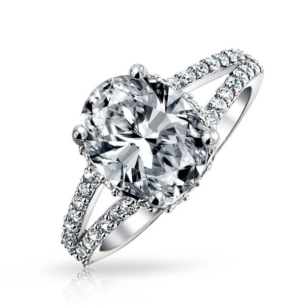 Bling Jewelry Split Shank .925 Silver 2ct Cushion Cut CZ Pave Engagement Ring 5G4fCo3