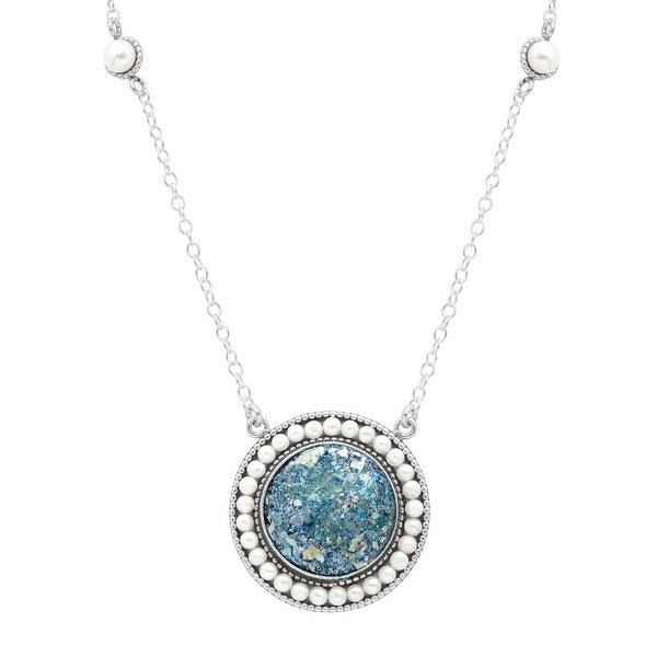 Roman Glass & Freshwater Pearl Circle Medallion in Sterling Silver - multi-color