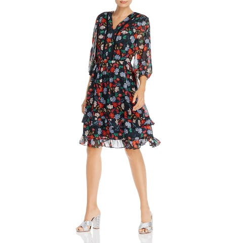 Nanette Nanette Lepore Womens Cocktail Dress Chiffon Floral Print - Berry Multi
