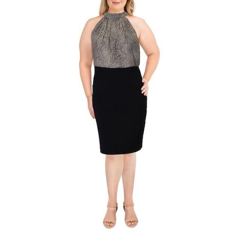Teeze Me Womens Plus Halter Dress Animal Print Bandage - Black