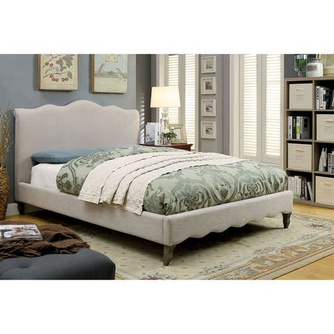 Furniture of America Dupa Contemporary Beige Fabric Platform Bed
