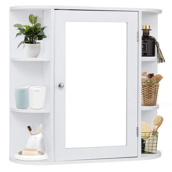 Costway Multipurpose Mount Wall Surface Bathroom Storage Cabinet Mirror White Finish