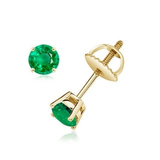 Angara Basket Set Round Genuine Emerald Stud Earrings