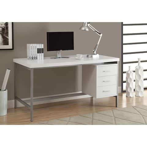 Monarch 7046 White Silver Metal 60nch Computer Desk