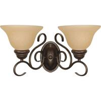 "Nuvo Lighting 60/1031 Castillo 2-Light 17-1/4"" Wide Bathroom Vanity Light with Frosted Glass Shades - sonoma bronze"