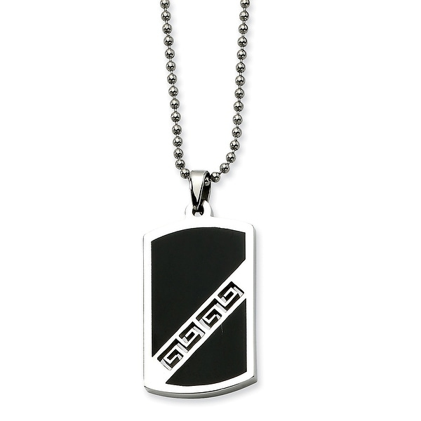 Chisel Stainless Steel Black Enamel Dogtag Pendant 20 Inch Necklace (1 mm) - 20 in