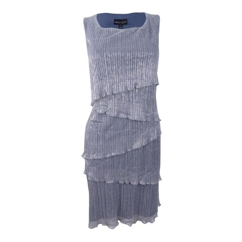 Connected Women's Plus Size Metallic Tiered Sleeveless Dress
