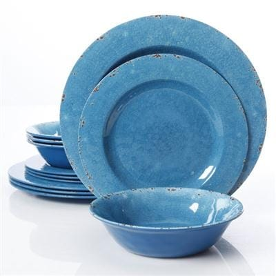 Gibson Studio Line By Laurie Gates 12 Piece Mauna Melamine Dinnerware, Blue