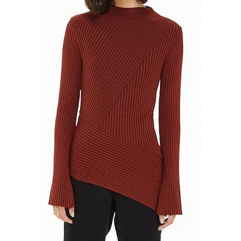 TopShop Brown Womens Size 12 Asymmetrical Mock Neck Ribbed Knit Top