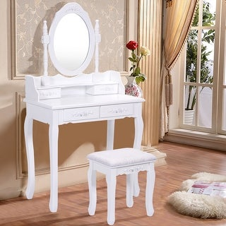 Costway White Vanity Wood Makeup Dressing Table Stool Set Bedroom with Mirror + 4Drawers