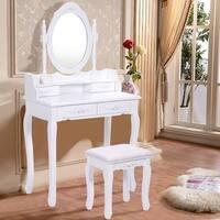 Costway White Vanity Wood Makeup Dressing Table Stool Set bathroom with Mirror + 4Drawers